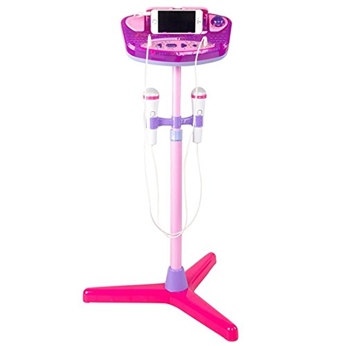 Kids-Karaoke-Machine-YIFAN-Stand-Up-Microphone-Toy-Play-Set-with-2-Microphones-Pink