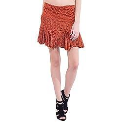 TUNTUK Women's Apple Skirt Orange Viscose Skirt