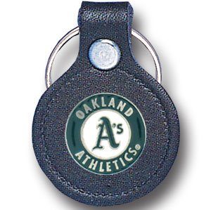 Small Leather & Pewter Mlb Key Ring - Oakland Athletics Small Leather & Pewter Mlb Key Ring - Oakla