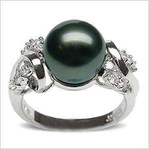 Size 7 18K white gold sophia Black Tahitian south sea cultured pearl and diamond ring