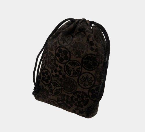 メンズ 和装 信玄 袋 バッグ きんちゃく 巾着 家紋 模様 茶色 日本製 合切袋 紳士 男 性 物