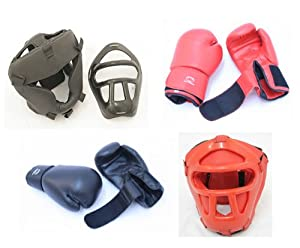 2 Pairs Pro Boxing Gloves & Pro Head Cage Guard Gears