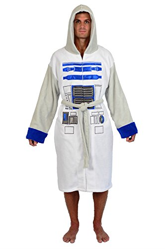 Star Wars White Grey R2D2 Fleece Robe (One Size)
