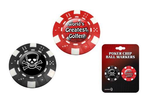 Asbri Golf Marqueur de balle en forme de jeton de poker Motif tête de mort
