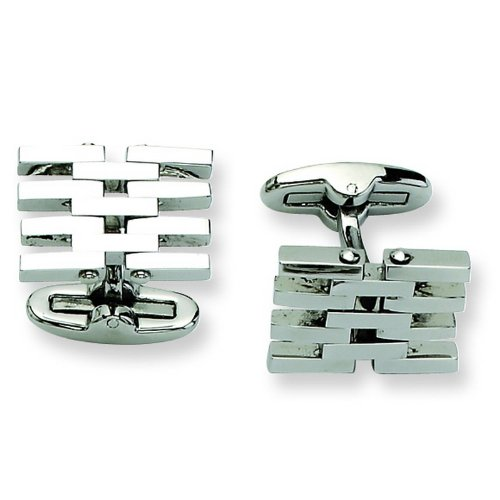 Stainless Steel Polished Cuff Links. Metal Weight- 11.97g. Cuff Links.