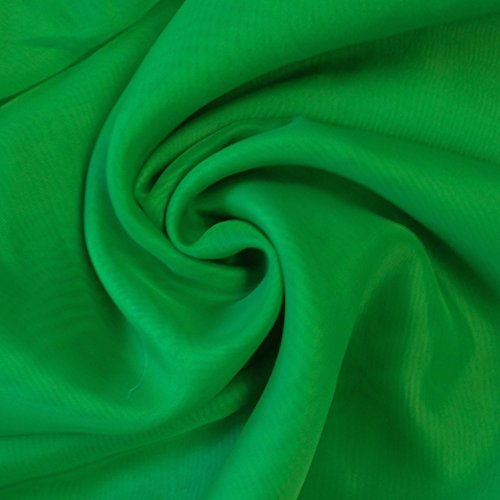 "Sheer Voile Fabric 118"" Wide Window Curtain Drapery and Apparel per yard 100% polyester (Kelly Green)"