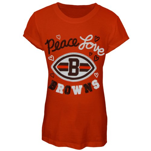 Cleveland Browns - Peace Love Girls Youth T-Shirt Orange 12-14 front-155822