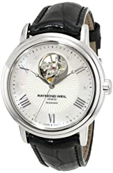 """Raymond Weil Women's 2827-L1-00966 """"Maestro"""" Stainless Steel Automatic Watch with Black Leather Band"""