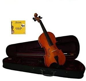 GRACE 4/4 (Full) Size Natural Acoustic Violin with Case and Bow+Rosin+Extra Set of Strings