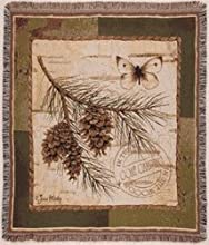 Pinecone Branch Butterfly Deluxe Woven Tapestry Throw Blanket