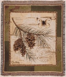 Pinecone Branch Butterfly Deluxe Woven Tapestry Throw Blanket front-885426