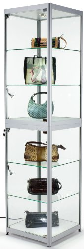 "Display Cabinet For Use At Exhibitions And Trade Shows, Silver Finish, W/ Lights, Glass Shelves, Carrying Case - 77-3/4"" Tall"