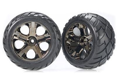 "Traxxas 3776A Anaconda 2.8"" Tires Assembled on All-Star Black-Chrome Wheels"