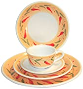 Caleca Chili Peppers 5-Piece Dinnerware Place Setting, Service for 1