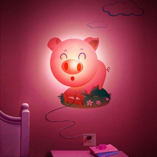 Mokingtop New Fashion Living Room Wall Led Light Lamp Cartoon Diy 3D Home Modern Decoration Wallpaper (Hot Pink Pig)