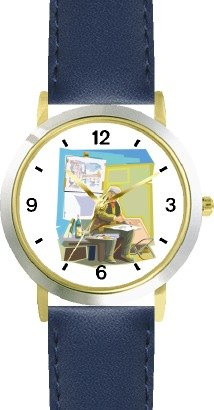 Artist In Studio Painting - Watchbuddy® Deluxe Two-Tone Theme Watch - Arabic Numbers - Blue Leather Strap-Size-Children'S Size-Small ( Boy'S Size & Girl'S Size )