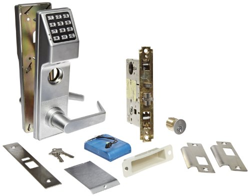Alarm Lock Stainless Steel Trilogy T3 300-User Weatherproof Electronic Digital Keypad Classroom Mortise Lock Leverset, Right Hand, Straight Lever Classroom Function, Satin Chrome Finish