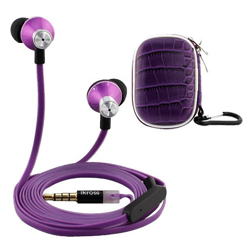 "Ikross Purple In-Ear 3.5Mm Noise-Isolation Stereo Earbuds With Microphone + Purple Accessories Carrying Case For Barnes & Noble Nook Hd+ 9; Fuhu Nabi Dreamtab 8"" Tablet Smartphone Cell Phone And Mp3 Player"