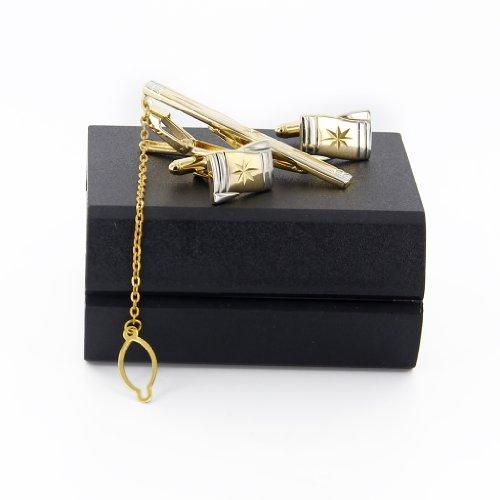 set boutons de manchette pince cravate pour homme avec bo te cadeau or 3 bijouterie carr or. Black Bedroom Furniture Sets. Home Design Ideas
