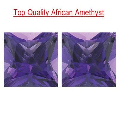 2.96 Cts of 7 mm Princess Matching Loose Amethyst ( 2 pcs set ) Gemstones