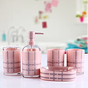 High grade simple bathroom set 5 piece pink for Pink and gray bathroom sets