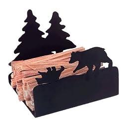 Black Steel Bear Fatwood Holder - 9 x 11 inch