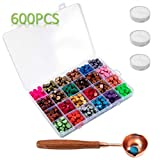 Waloden 600 Pieces Hexagon Sealing Wax Beads with 3 Pieces Tea Candles and a Wooden Handle Wax Melting Spoon 24 Colors 25 Pieces Each Color