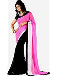 Winza Saree Faux Georgette Saree With Fancy Lace And Blouse.