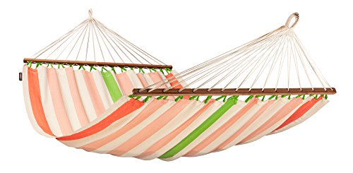 LA SIESTA Colada High Comfort and Rip Proof Double Hammock with Spreader Bars, Mango
