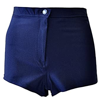 Womens Ladies Wet Look Shiny High Waisted Button Pants Disco Shorts Short Hotpants Hot Pant Black Navy Royal Blue Red Cerise UK Size 6 8 10 12 14 (6, Navy)