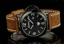 buy Police Style Date Analog Military Leather Band Quartz Mens Watch Luxury