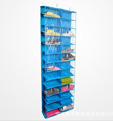 GYMNLJY Griglia di 26 borse di attaccatura di parete porta scarpa panno di deposito borse Oxford multistrato sospensione tipo , blue