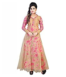 My online Shoppy Women's Net Semi Stitched Dress Material (My online Shoppy_132_Beige_Free Size)