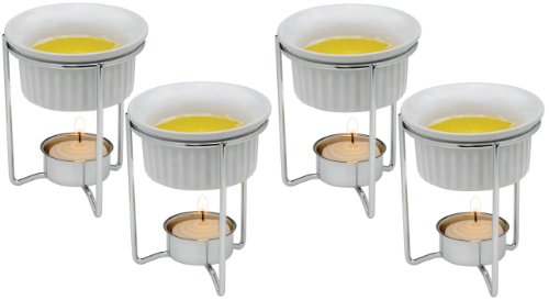 (Set of 4) White Ceramic Butter Warmers w/Tealight and Stand