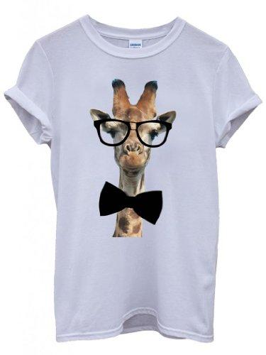 Geek Giraffe Nerd Geek Bow Tie Funny Hipster Swag White Men Women Unisex Top T-Shirt -Medium
