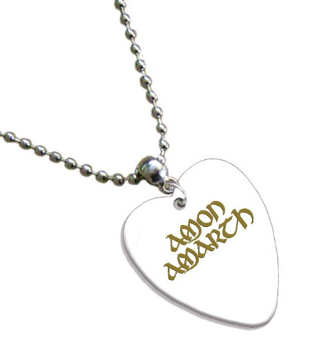 Amon Amarth Hot Foil on White Love Heart Pick Collana Necklace Plettro Plettri