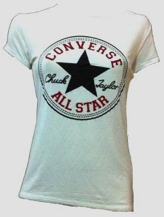Nouveau dames Femmes Filles Converse Star Imprimer VEST Casual Débardeur T-shirt Muscle Retour Taille (S/M 36-38, T-shirt blanc)