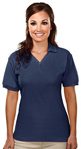 Ladies' Stature Cotton Knit Shirt, Color: Navy, Size: Medium front-443975