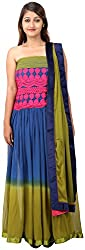 Arya The Design Gallery Women's Georgette Semi Stitched Dress Materials( SKA31001, Blue, Free Size)