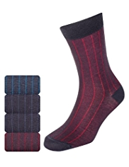 4 Pairs of Autograph Drop Needle Striped Socks with Modal