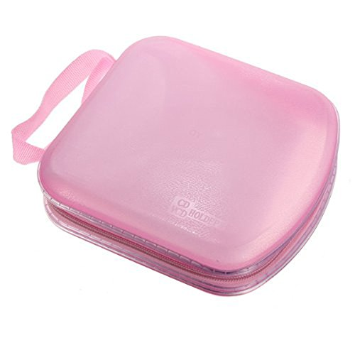 Foxnovo Portable Clear Plastic 40 Cd Dvd Vcd Disc Holder Storage Box Bag Wallet Case Protector Organizer (Pink) front-1089054