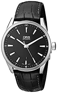 Oris Men's 73376424054-0752181FC Leather Synthetic with Black Dial Watch