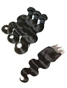 New Star Virgin Brazilian Body Wave Hair Extension Mixed Length With One Closure - 14