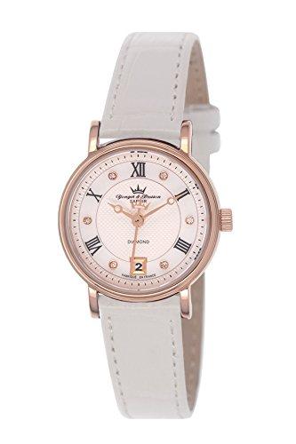 Yonger & Bresson DCR 1689/02 - Orologio da polso donna, pelle, colore: bianco
