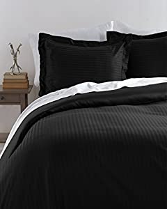 HLC.ME Venice Hotel Ultra-Soft Woven Stripe Duvet Set (Twin, Black)