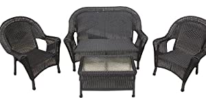 4-Piece Black Resin Wicker Patio Furniture Set- 2 Chairs, Loveseat & Table