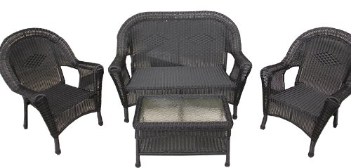 4 Piece Black Resin Wicker Patio Furniture Set  2 Chairs, Loveseat U0026 Table