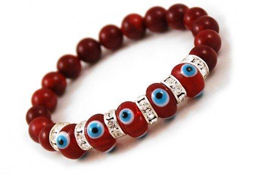 Evil Eye Coral Bracelet