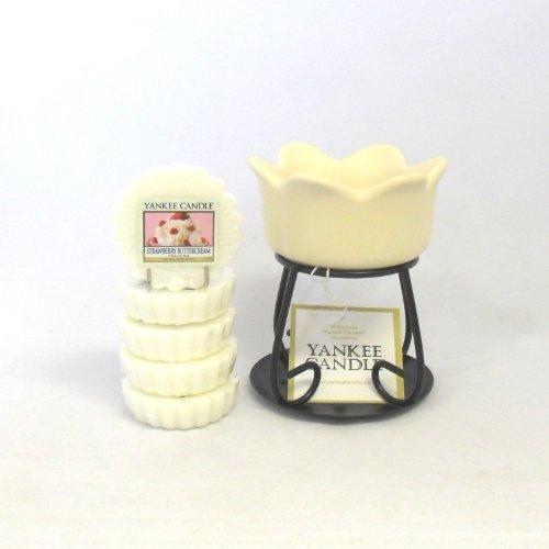 Yankee Candle Lot de 5tartelettes parfumées en cire Parfum Crème au beurre aux fraises + Pétale Bol à Tarte Brûleur-Crème