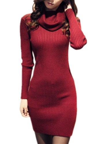 V28 Women Vintage Cowl Neck Stripe Kint Stretchable Elasticity Long Sleeve Slim Fit Sweater Dress XS/S US 2-8Wine Red